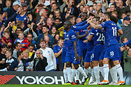 Chelsea celebrate the first goal of the match scored by Chelsea midfielder Eden Hazard (10) during the Premier League match between Chelsea and Liverpool at Stamford Bridge, London, England on 29 September 2018.
