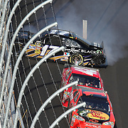 Sprint Cup Series driver Matt Kenseth (17) spins into the wall during the Daytona 500 at Daytona International Speedway on February 20, 2011 in Daytona Beach, Florida. (AP Photo/Alex Menendez)