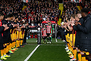 Billy Sharp of Sheffield Utd leads the players through a guard of honour during the English League One match at Bramall Lane Stadium, Sheffield. Picture date: April 17th 2017. Pic credit should read: Simon Bellis/Sportimage
