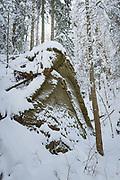 Large sandstone cliff-face next to small stream hidden in snow on snowy winter day, Gauja National Park (Gaujas Nacionālais parks), Latvia Ⓒ Davis Ulands   davisulands.com