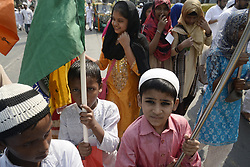 November 21, 2018 - Kolkata, West Bengal, India - Muslim girls and Muslim children take part in a procession to celebrate Eid-e-Milad festival marking the anniversary of Prophet Muhammad's birth. (Credit Image: © Saikat Paul/Pacific Press via ZUMA Wire)