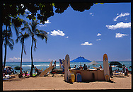 surf board and boogie board rentals abound on Waikiki beach in Honolulu, Hawaii