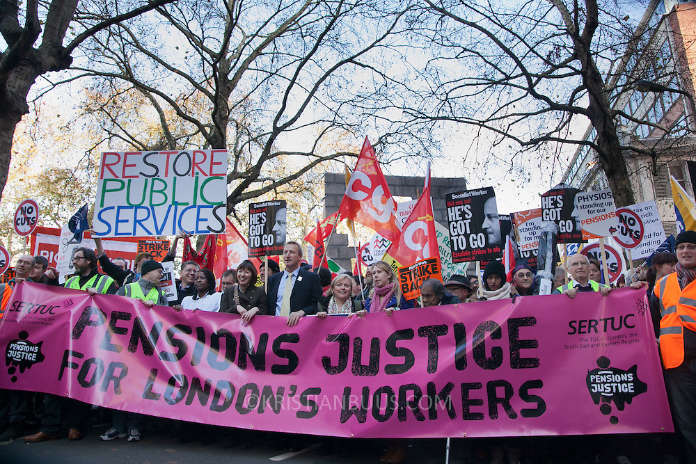 Numerous trade unions in the public sector called for a day of strike and in that connection marched in London against the Government's pension cuts. Most schools in Scotland were shut and more than half of all schools in England were shut for the day . Many nurses, doctors and health workers went on strike in protests against the Government's austerity measures.