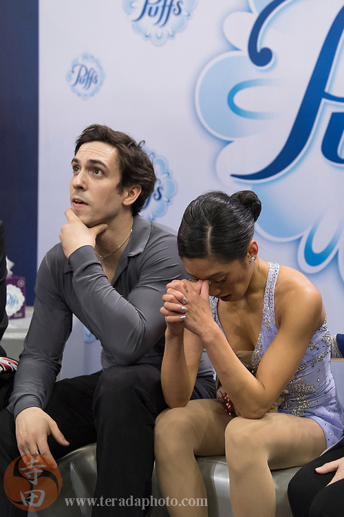 January 4, 2018; San Jose, CA, USA; Jessica Calalang and Zack Sidhu react in the kiss and cry after skating in the pairs short program during the 2018 U.S. Figure Skating Championships at SAP Center.