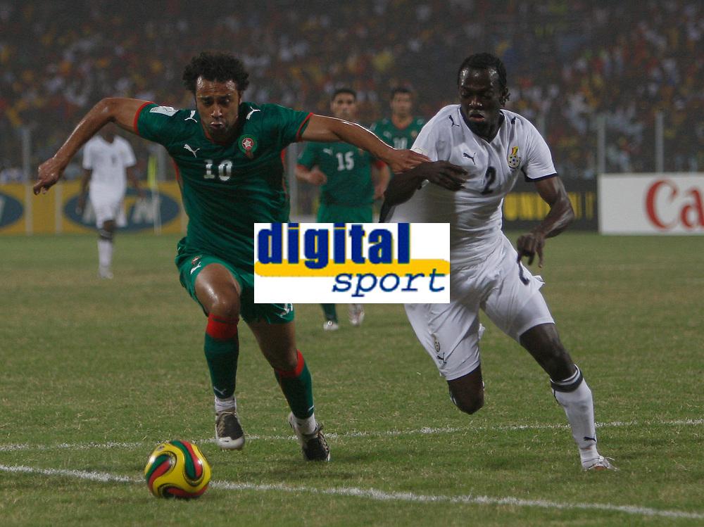 Photo: Steve Bond/Richard Lane Photography.<br /> Ghana v Morocco. Africa Cup of Nations. 28/01/2008. Hans Adu Sarpei (R) defends against Tarik Sektioui (L)