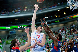 Vladimir Stimac #15 of Serbia during basketball match between National teams of France and Serbia in 2nd Round at Day 12 of Eurobasket 2013 on September 14, 2013 in SRC Stozice, Ljubljana, Slovenia. (Photo By Urban Urbanc / Sportida)