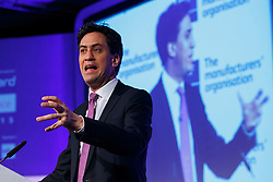 © Licensed to London News Pictures. 26/02/2015. LONDON, UK. Labour Party leader Ed Miliband delivers a speech on the British manufacturing and the EU at Queen Elizabeth II Conference Centre in London on Thursday, 26 February 2015. Photo credit : Tolga Akmen/LNP