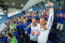Fans of Slovenia and Slovakia during Ice Hockey match between Slovenia and USA at Day 10 in Group B of 2015 IIHF World Championship, on May 10, 2015 in CEZ Arena, Ostrava, Czech Republic. Photo by Vid Ponikvar / Sportida
