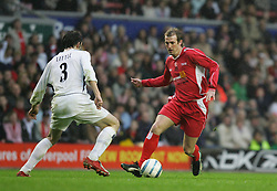 LIVERPOOL, ENGLAND - SUNDAY MARCH 27th 2005: Liverpool Legends' Paul Dalglish and Celebrity XI's Ralf Little during the Tsunami Soccer Aid match at Anfield. (Pic by David Rawcliffe/Propaganda)