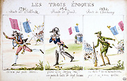 France: The Three epochs of change 1791 Revolution, 1814 Defeat, and 1830 Revolution. Hand-coloured  engraving.