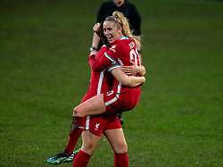 BIRKENHEAD, ENGLAND - Sunday, March 28, 2021: Liverpool's Missy Bo Kearns celebrates after scoring the first goal during the FA Women's Championship game between Liverpool FC Women and Blackburn Rovers Ladies FC at Prenton Park. The game ended in a 1-1 draw. (Pic by David Rawcliffe/Propaganda)