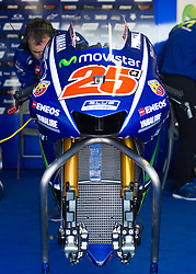 October 20, 2017 - Melbourne, Victoria, Australia - The bike of Spanish rider Maverick Viñales (#25) of Movistar Yamaha MotoGP in the garage before the first free practice session of the MotoGP class at the 2017 Australian MotoGP at Phillip Island, Australia. (Credit Image: © Theo Karanikos via ZUMA Wire)