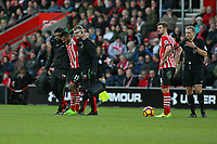 Football - 2016 / 2017 Premier League - Southampton vs. West Ham United<br /> <br /> Southampton's Sofiane Boufal is helped from the pitch after picking up an injury at St Mary's Stadium Southampton England<br /> <br /> COLORSPORT/SHAUN BOGGUST