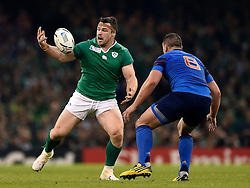 Cian Healy of Ireland looks to gather the ball - Mandatory byline: Patrick Khachfe/JMP - 07966 386802 - 11/10/2015 - RUGBY UNION - Millennium Stadium - Cardiff, Wales - France v Ireland - Rugby World Cup 2015 Pool D.