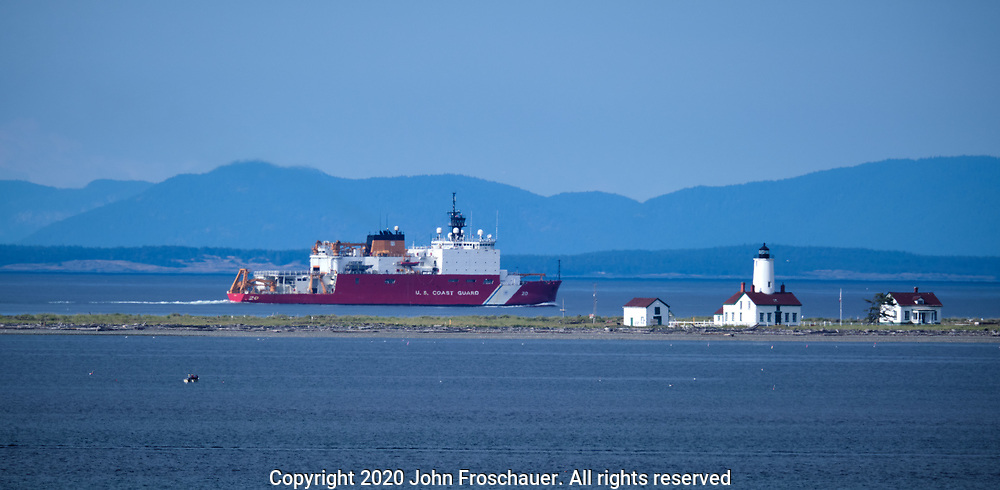 Coast Guard ship passing Dungeness Spit and the lighthouse, Friday, July 10, 2020, near Sequim WA. (Photo/John Froschauer)