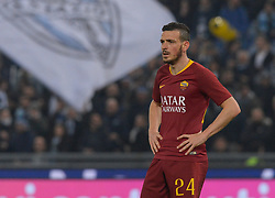 March 2, 2019 - Rome, Lazio, Italy - Alessandro Florenzi AS Roma reacts during the Italian Serie A football match between S.S. Lazio and A.S Roma at the Olympic Stadium in Rome, on march 02, 2019. (Credit Image: © Silvia Lore/NurPhoto via ZUMA Press)