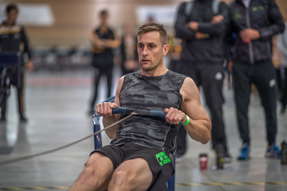 Robert Doak MALE HEAVYWEIGHT Masters A  2K Race #1 08:30am<br /> <br /> www.rowingcelebration.com Competing on Concept 2 ergometers at the 2018 NZ Indoor Rowing Championships. Avanti Drome, Cambridge,  Saturday 24 November 2018 © Copyright photo Steve McArthur / @RowingCelebration