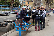 Putney, Great Britain, 23rd March 2019, Molesey Women's Eight have the last minute team Talk from the coach before the Pre Boat Race Fixture, Oxford University Women's Boat Club vs Molesey Boat Club, Championship Course, River Thames,   England, [Mandatory Credit; Peter Spurrier/Intersport-images],