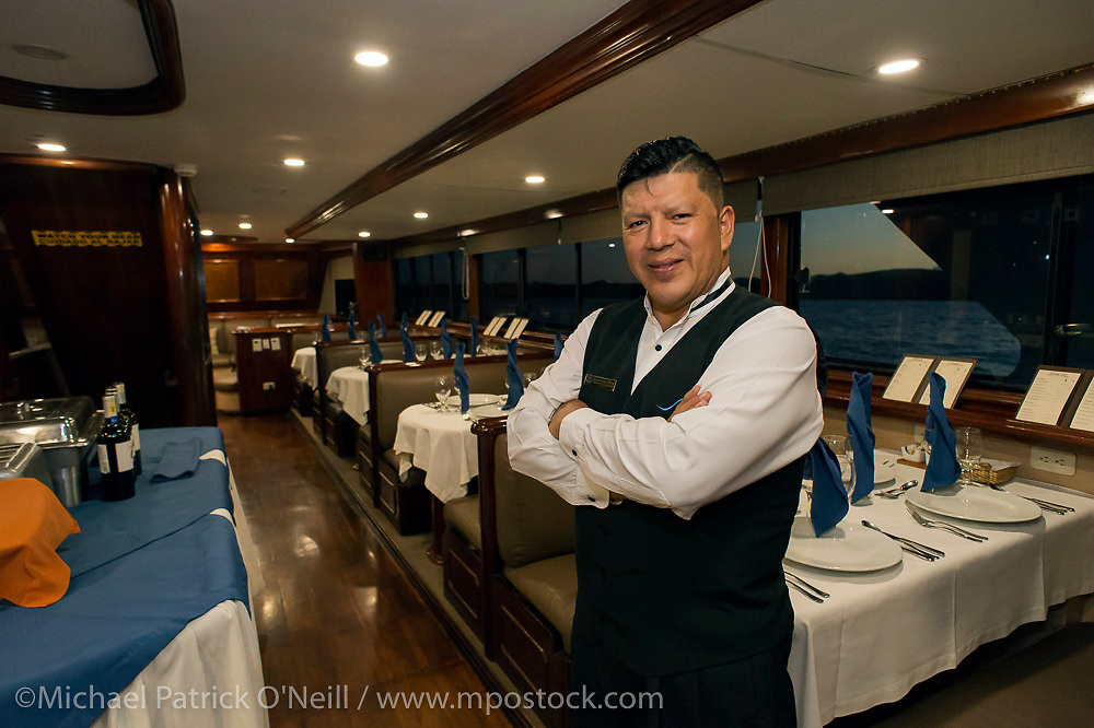 Dining room of the Galapagos Sky Liveaboard.
