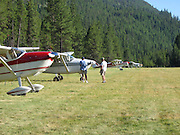 Pilots enjoying the sunshine at Johnson Creek, ID