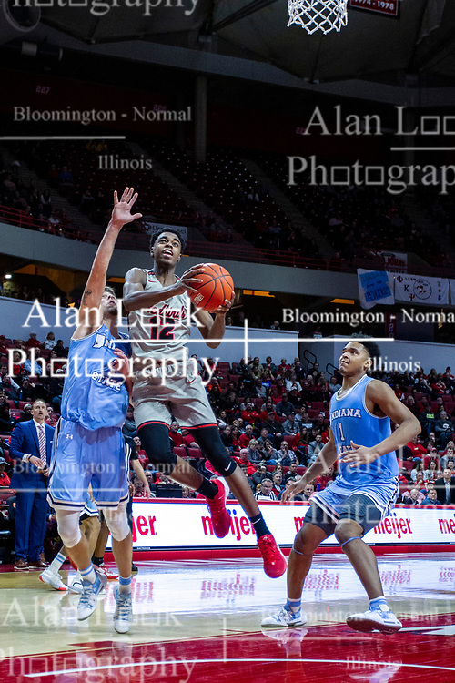 NORMAL, IL - February 08: Antonio Reeves bldy blocks out his defender Cooper Neese as he leans in for a 2 point shot during a college basketball game between the ISU Redbirds and the Indiana State Sycamores on February 08 2020 at Redbird Arena in Normal, IL. (Photo by Alan Look)