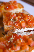 In the restaurant. Tomato on bread. Herdade da Malhadinha Nova, Alentejo, Portugal