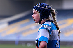Jess Wiesheu of DMP Durham Sharks wears a Rugby Against Racism badge on her shirt - Mandatory by-line: Nick Browning/JMP - 09/01/2021 - RUGBY - Sixways Stadium - Worcester, England - Worcester Warriors Women v DMP Durham Sharks - Allianz Premier 15s