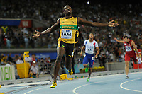 ATHLETICS - IAAF WORLD CHAMPIONSHIPS 2011 - DAEGU (KOR) - DAY 9 - 04/09/2011 - PHOTO : STEPHANE KEMPINAIRE / KMSP / DPPI - <br /> 4X100 M - MEN - RELAY - FINAL - WINNER - GOLD MEDAL - JAMAICA TEAM - USAIN BOLT - YOHAN BLAKE