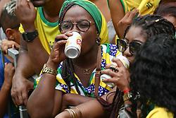 June 22, 2018 - Salvador, Brazil - SALVADOR, BA - 22.06.2018: TORCIDA DO BRASIL EM SALVADOR - Tourists drink beer at the Olodum crowd in Pelourinho, in Salvador, Bahia, during a game between Brazil and Costa Rica, valid for the 2018 World Cup in Russia. (Credit Image: © Mauro Akin Nassor/Fotoarena via ZUMA Press)