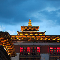 Asia, Bhutan, Thimpu. Tashichhoedzong roofline.