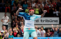 29.10.2016, Stadthalle, Wien, AUT, ATP Tour, Erste Bank Open, Halbfinale, im Bild Jo Wilfried Tsonga (FRA) // Jo Wilfried Tsonga of France celebrating after the semifinal match of Erste Bank Open of ATP Tour at the Stadthalle in Vienna, Austria on 2016/10/29. EXPA Pictures © 2016, PhotoCredit: EXPA/ Sebastian Pucher