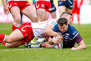Leeds Rhinos interchange Brett Ferres (19) is denied a try  during the Betfred Super League match between Hull Kingston Rovers and Leeds Rhinos at the Lightstream Stadium, Hull, United Kingdom on 29 April 2018. Picture by Simon Davies.
