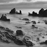 Corona Del Mar - Rocky Cove Southwest View - Magic Hour - Black & White