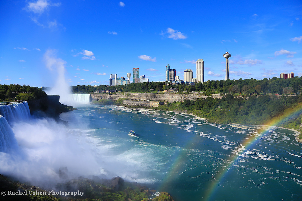 """""""Niagara Falls and Rainbows""""<br /> <br /> A wonderful view of Niagara Falls and a beautiful double rainbow from the American side. Powerful, sparkling, colorful and vast!!<br /> <br /> Waterfalls by Rachel Cohen"""