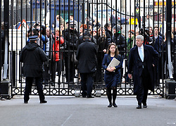© Licensed to London News Pictures. 20/02/2012, London, UK. Protesters outside Downing Street today. Protesters managed prevent Mr Landsley from entering the street for a short time. Andrew Landsley arrives in Downing Street for a meeting about the proposed reorganisation of the National Health Servie today 20 February 2012. Photo credit : Stephen Simpson/LNP
