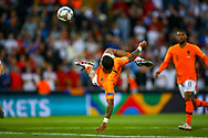 Netherlands forward Memphis Depay (Lyon) makes a dramatic kick towards goal during the UEFA Nations League semi-final match between Netherlands and England at Estadio D. Afonso Henriques, Guimaraes, Portugal on 6 June 2019.