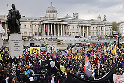 © Licensed to London News Pictures. 01/05/2021. London, UK. Protesters gather in Trafalgar Square in central London during a May Day Kill the Bill demonstration. The Police, Crime, Sentencing and Courts Bill proposes new restrictions on protests. Photo credit: Peter Macdiarmid/LNP