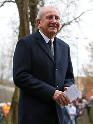 Retired footballer and manager Roy McFarland arrives at the funeral service for Gordon Banks at Stoke Minster.