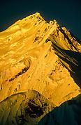 Sunrise, ENE ridge Chomolungma, Mt Everest from bivi on peak above a campsite used by 1921 British Everest Reconnaissance expedition, Kharta valley, Tibet
