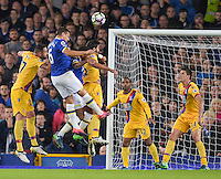 Everton's Phil Jagielka heads the ball towards goal<br /> <br /> Photographer Terry Donnelly/CameraSport<br /> <br /> The Premier League - Everton v Crystal Palace - Friday 30th September 2016 - Goodison Park - Liverpool<br /> <br /> World Copyright © 2016 CameraSport. All rights reserved. 43 Linden Ave. Countesthorpe. Leicester. England. LE8 5PG - Tel: +44 (0) 116 277 4147 - admin@camerasport.com - www.camerasport.com
