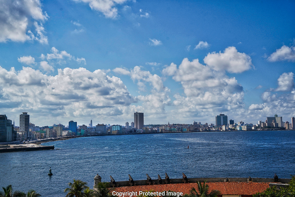 Havana, Cuba, 2019/01/14.  The Malecón area of Havana, Cuba  with the Havana harbour in the forground , Photograph by Dennis Brack