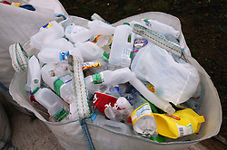 Plastic bottles to be recycled at the Tipsmart recycling centre at Calverton,