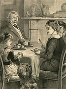 Family tea time: pet dog begging for a treat. Engraving, 1882