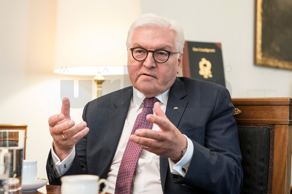 02 JUL 2018, BERLIN/GERMANY:<br /> Frank-Walter Steinmeier, Bundespraesident, waehrend einem Interview, Amtszimmer des Bundespraesidenten, Schloss Bellevue<br /> IMAGE: 20180702-01-008<br /> KEYWORDS: Bundespräsident