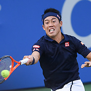 KEI NISHIKORI hits a forehand during his semifinal match at the Citi Open at the Rock Creek Park Tennis Center in Washington, D.C.