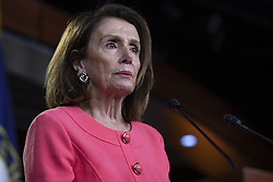 May 2, 2019 - Washington, District of Columbia, U.S. - House Speaker NANCY PELOSI, Democrat of California, speaks with reporters during her weekly news conference on Capitol Hill. Pelosi accuses Attorney General William Barr of committing a crime when he testified before Congress. (Credit Image: © Alex Edelman/CNP via ZUMA Wire)