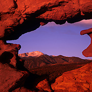 Pike's Peak seen through a redrock window in the Garden of the Gods on the edge of Colorado Springs, CO.