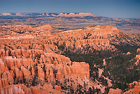Alpenglow over bryce Canyon from Bryce Point, Bryce Canyon National Park Utah