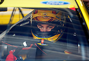 NASCAR Sprint Cup Series auto racing driver Joey Logano get ready for a practice run at Kansas Speedway in Kansas City, Kan., Saturday, Oct. 16, 2015. (AP Photo/Colin E. Braley)