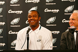 Former Philadelphia Eagle  Randall Cunningham speaks during a press conference to announce Al Wistert and his induction into The Eagles Honor Roll before the NFL game between the Kansas City Chiefs and the Philadelphia Eagles on September 27th 2009. The Eagles won 34-14 at Lincoln Financial Field in Philadelphia, Pennsylvania. (Photo By Brian Garfinkel)